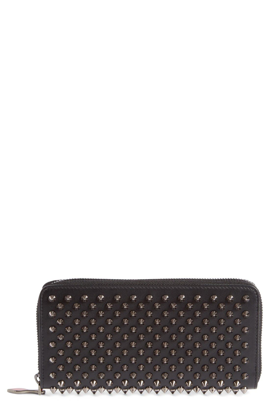 Panettone Spiked Calfskin Wallet,                         Main,                         color, Black/Multi Metal