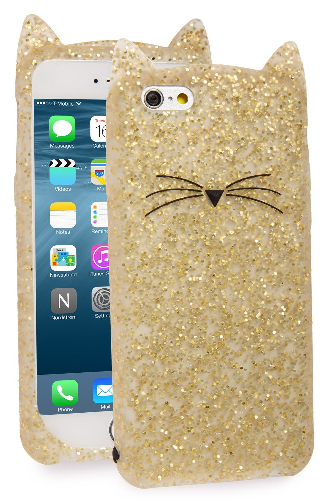glitter cat iPhone 6/6s case,                             Main thumbnail 1, color,                             Gold Glitter