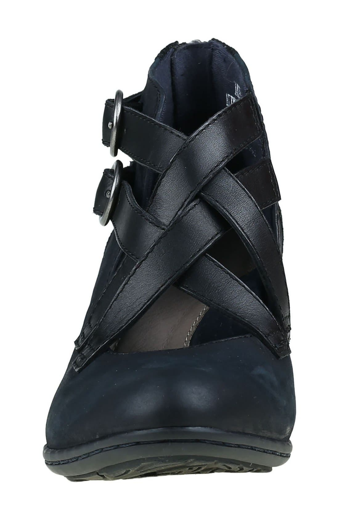 'Amber' Buckle Bootie,                             Alternate thumbnail 3, color,                             Navy Nubuck Leather