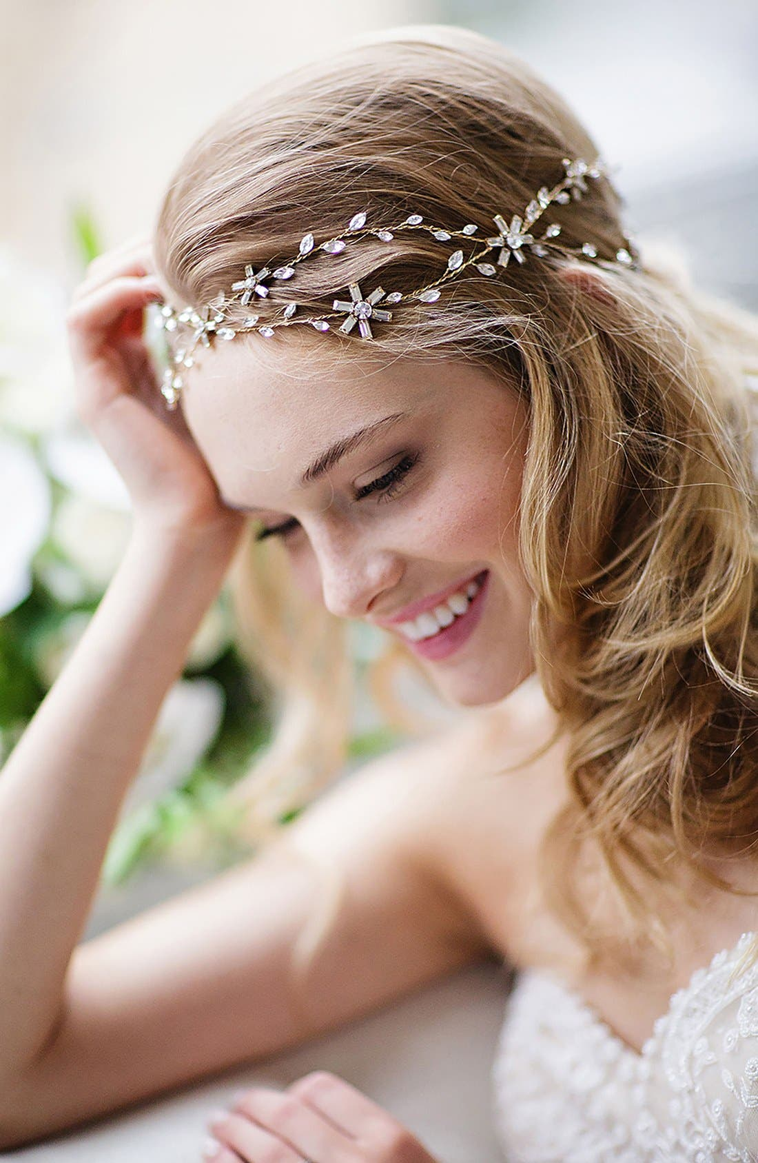 Brides & Hairpins 'Eula' Crystal Halo & Sash