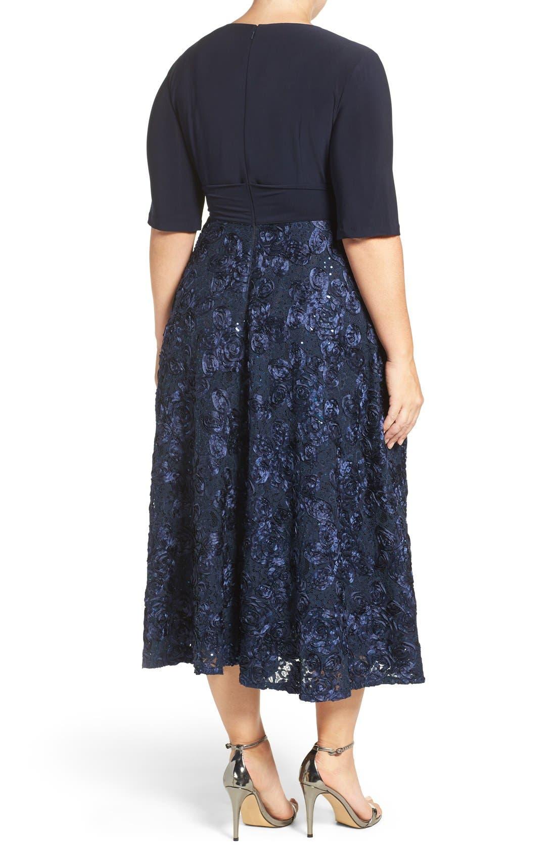 Tea Length Jersey & Rosette Lace Dress,                             Alternate thumbnail 2, color,                             Navy