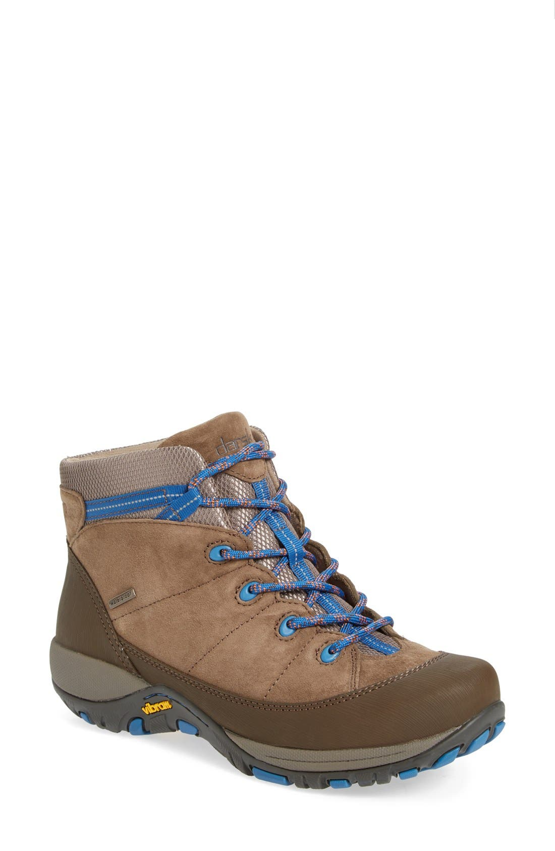 'Paulette' Waterproof Hiking Boot,                             Main thumbnail 1, color,                             Taupe Suede