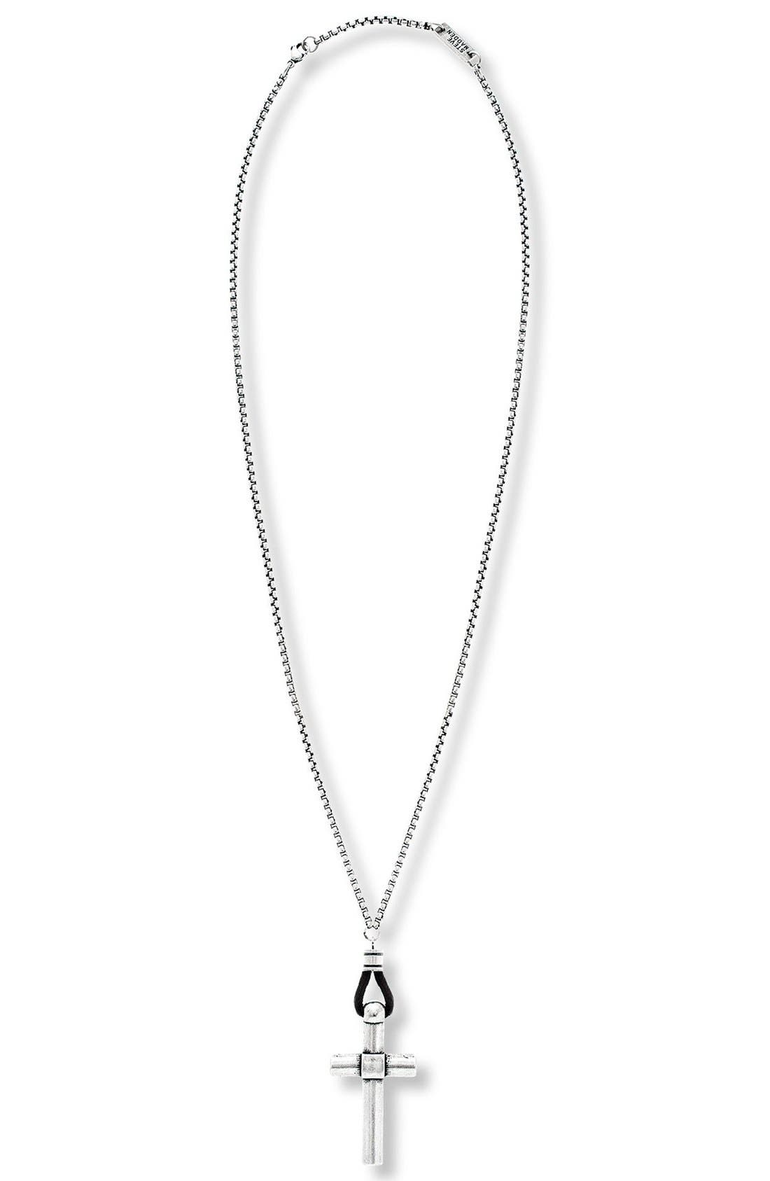 Cross Pendant Necklace,                         Main,                         color, Burnished Silver
