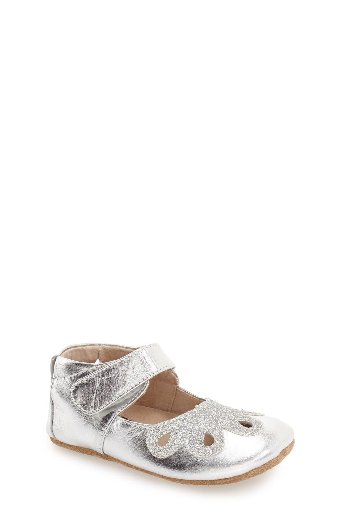 'Petal' Mary Jane Crib Shoe,                             Main thumbnail 1, color,                             Platinum