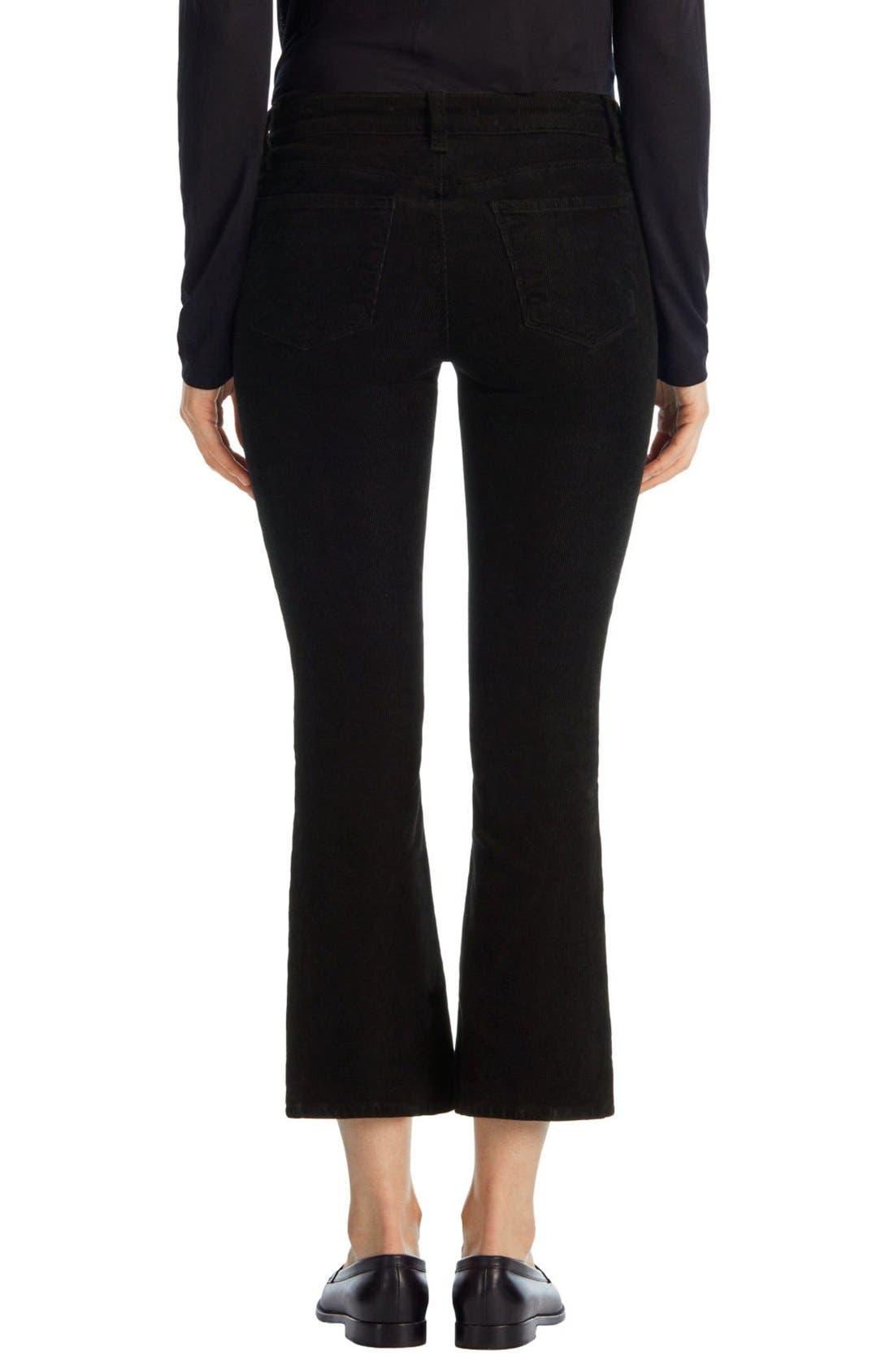 'Selena' Crop Bootcut Corduroy Pants,                             Alternate thumbnail 2, color,                             Black
