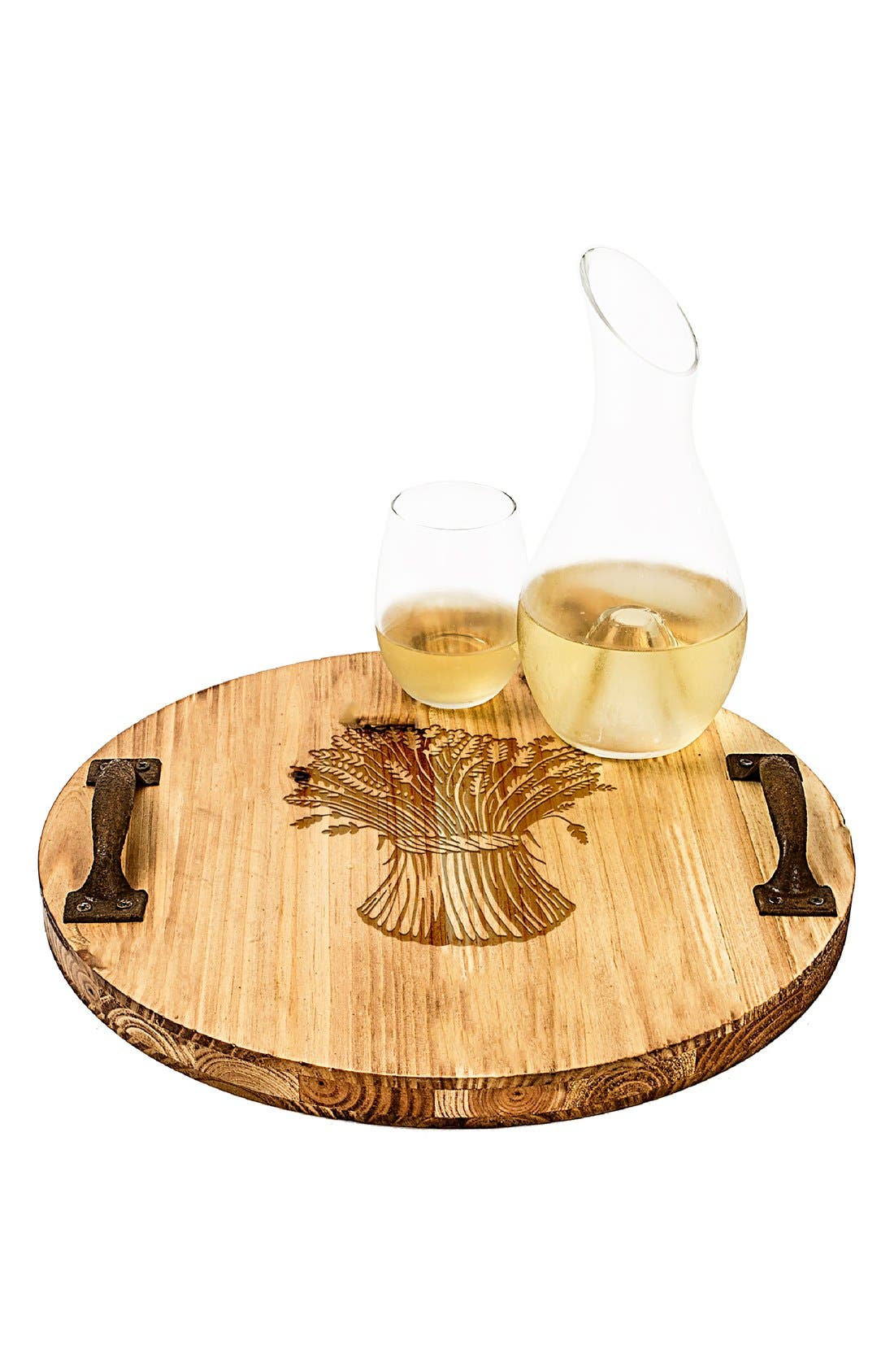 'Wheat Stalk' Rustic Wooden Tray,                             Main thumbnail 1, color,                             Brown