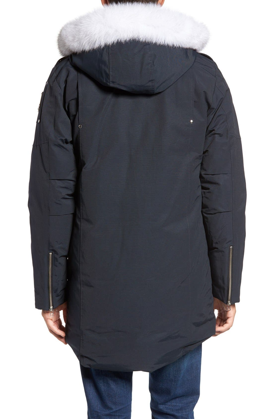 Stirling Water Repellent Down Parka with Genuine Fox Fur Trim,                             Alternate thumbnail 2, color,                             Dark Navy