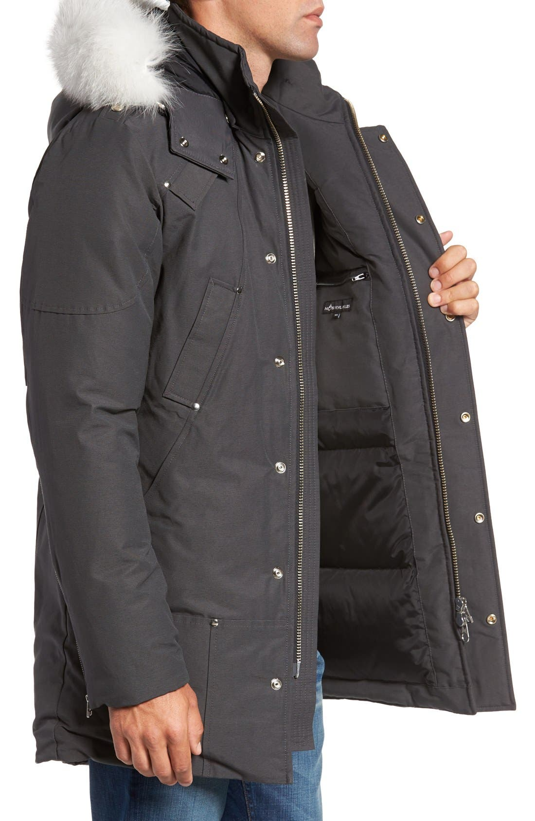 Stirling Water Repellent Down Parka with Genuine Fox Fur Trim,                             Alternate thumbnail 3, color,                             Grey