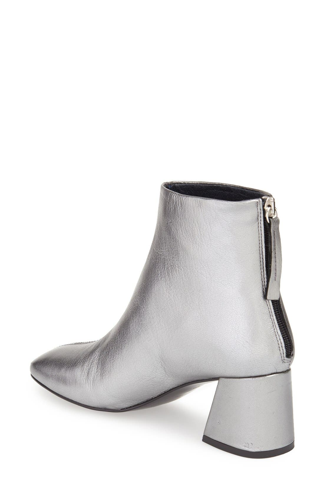 'Maggie' Flared Heel Bootie,                             Alternate thumbnail 2, color,                             Silver