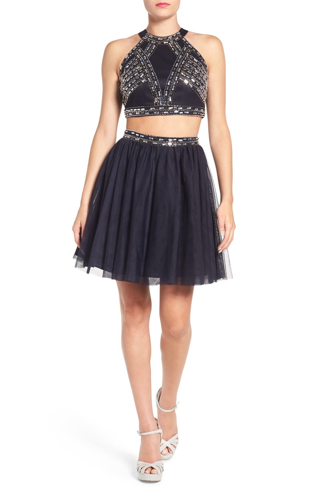 Main Image - Blondie Nites Embellished Two-Piece Skater Dress