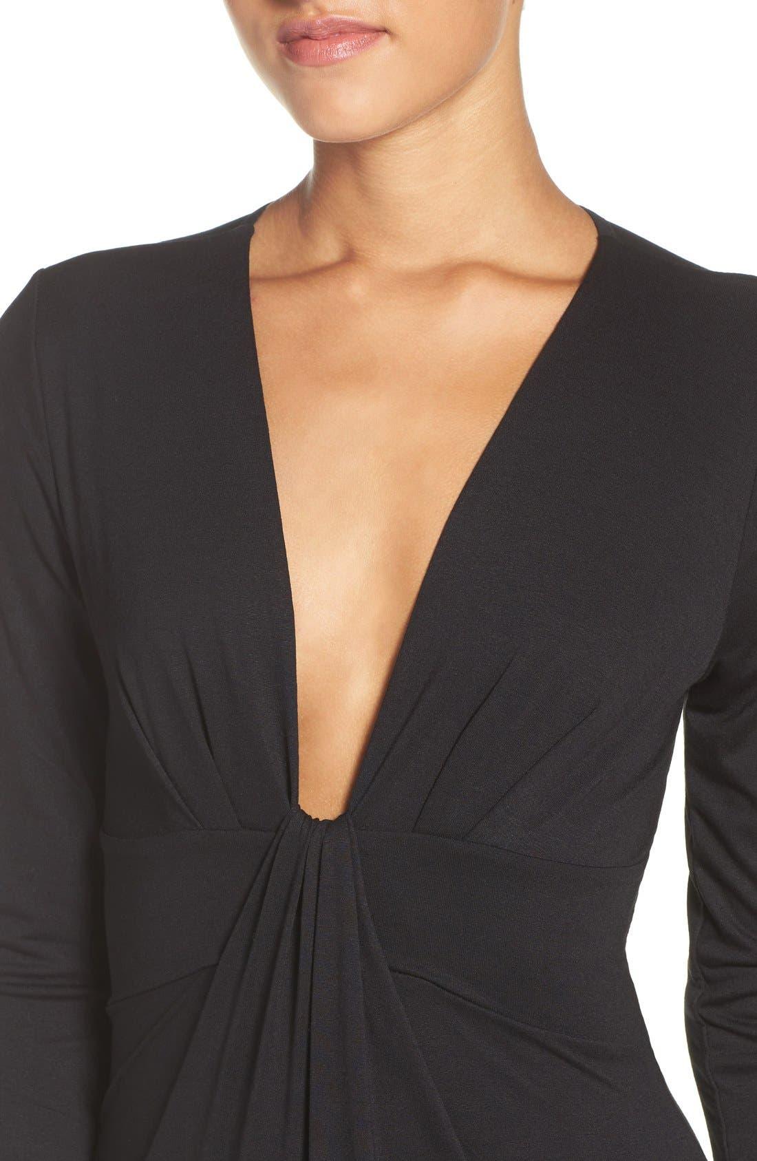 Plunge Neck Jersey Gown,                             Alternate thumbnail 5, color,                             Black