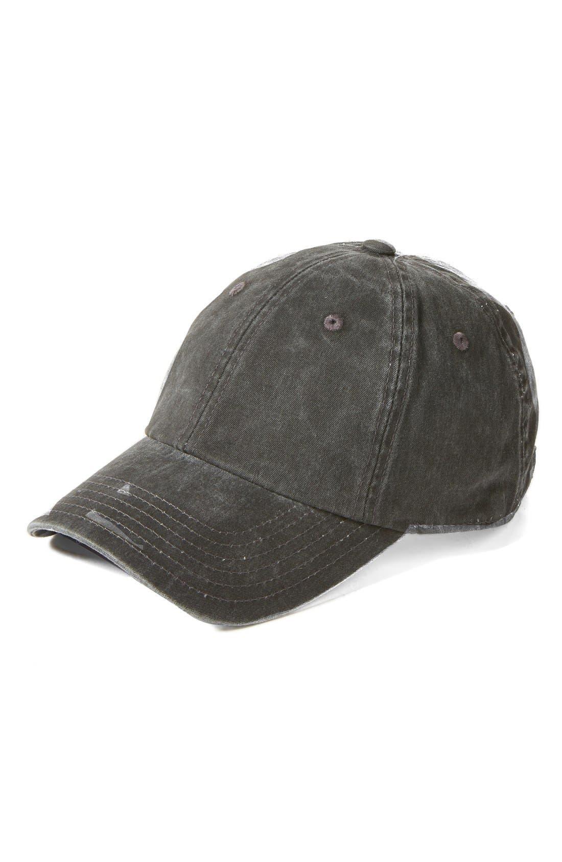 Washed Baseball Cap,                             Main thumbnail 1, color,                             Black