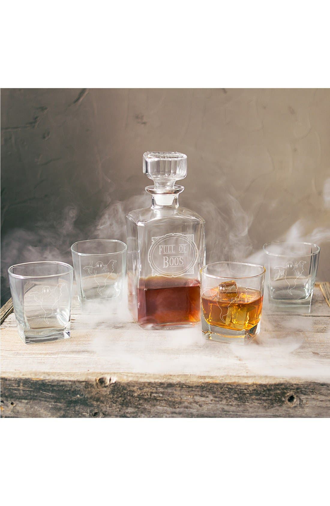 'Full of Boos' 6-Piece Glass Decanter Set,                             Main thumbnail 1, color,                             Clear