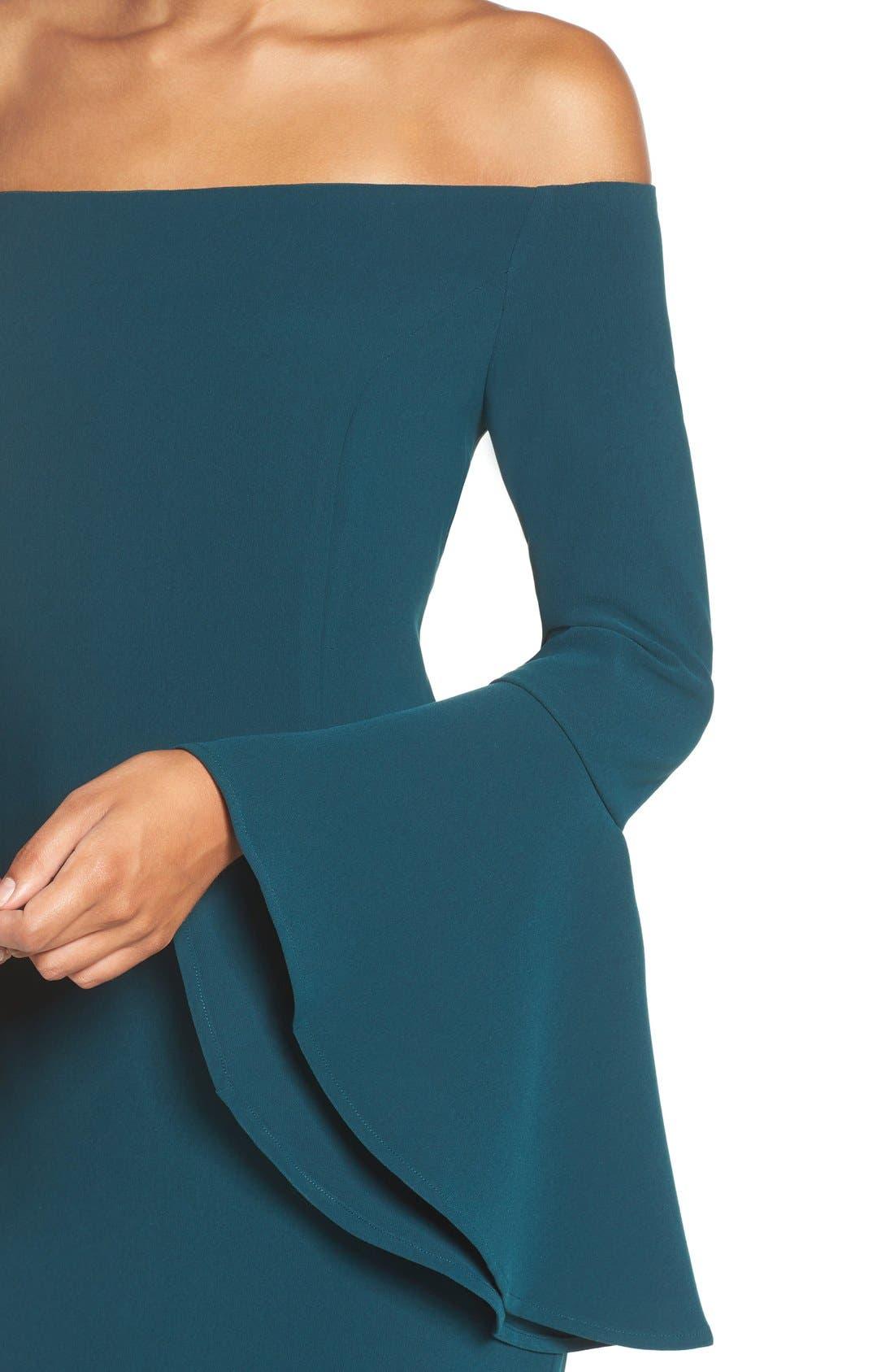 'Solange' Off the Shoulder Midi Dress,                             Alternate thumbnail 5, color,                             Teal
