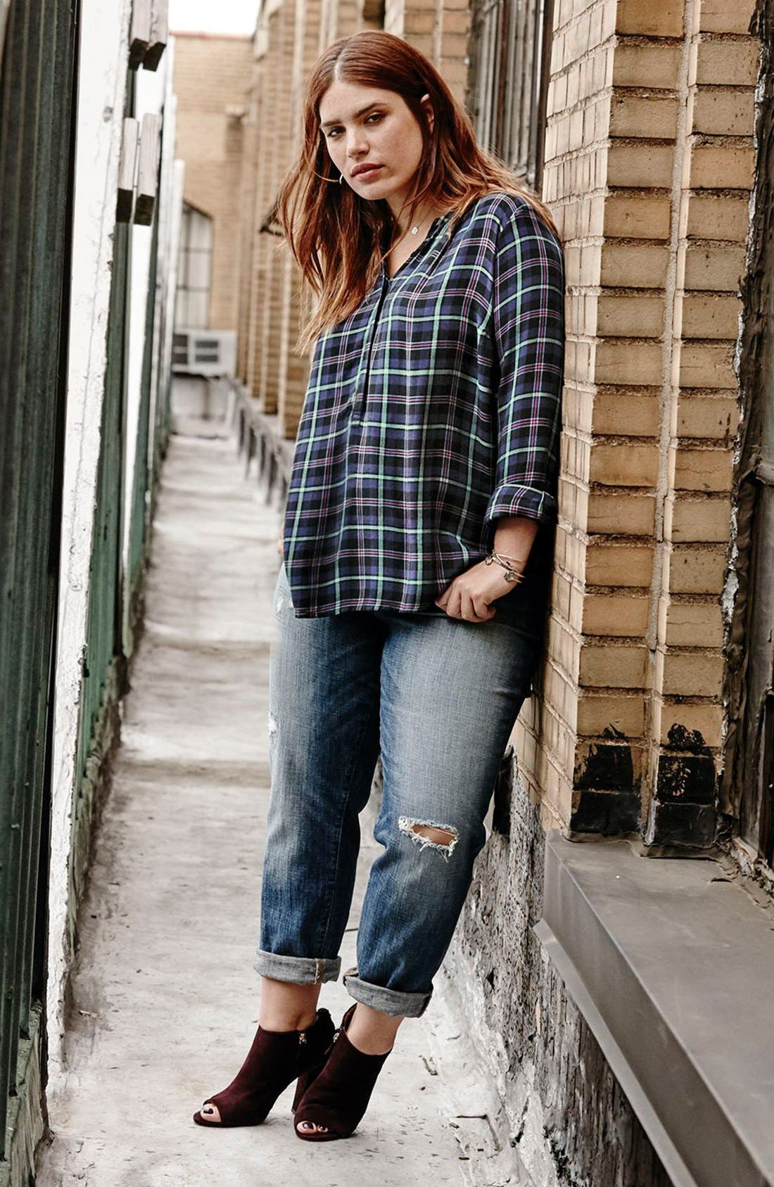 Alternate Image 2  - Lucky Brand Reese Distressed Boyfriend Jeans (Northridge Park) (Plus Size)