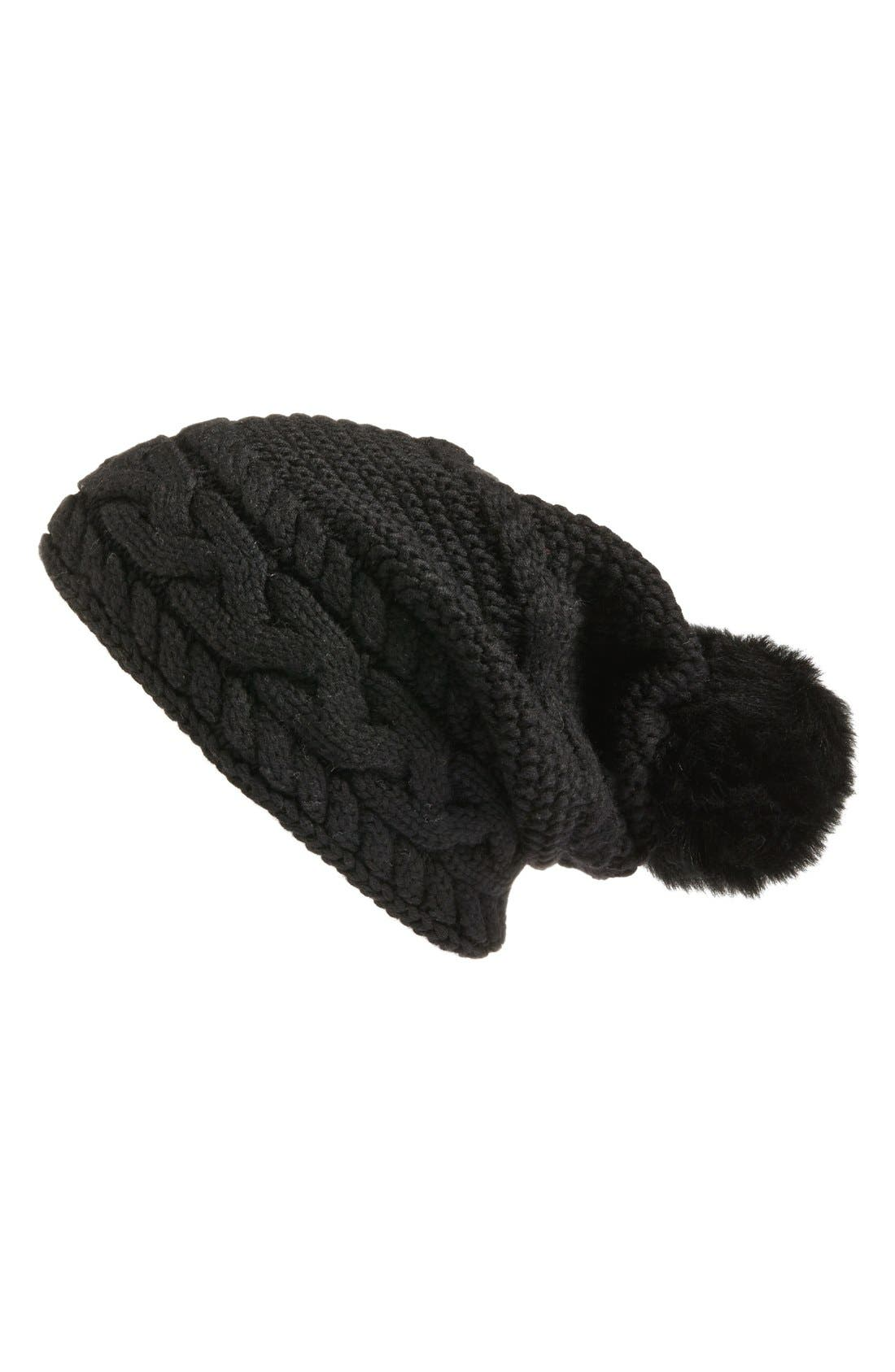 Main Image - UGG® Cable Knit Genuine Shearling Pom Beanie