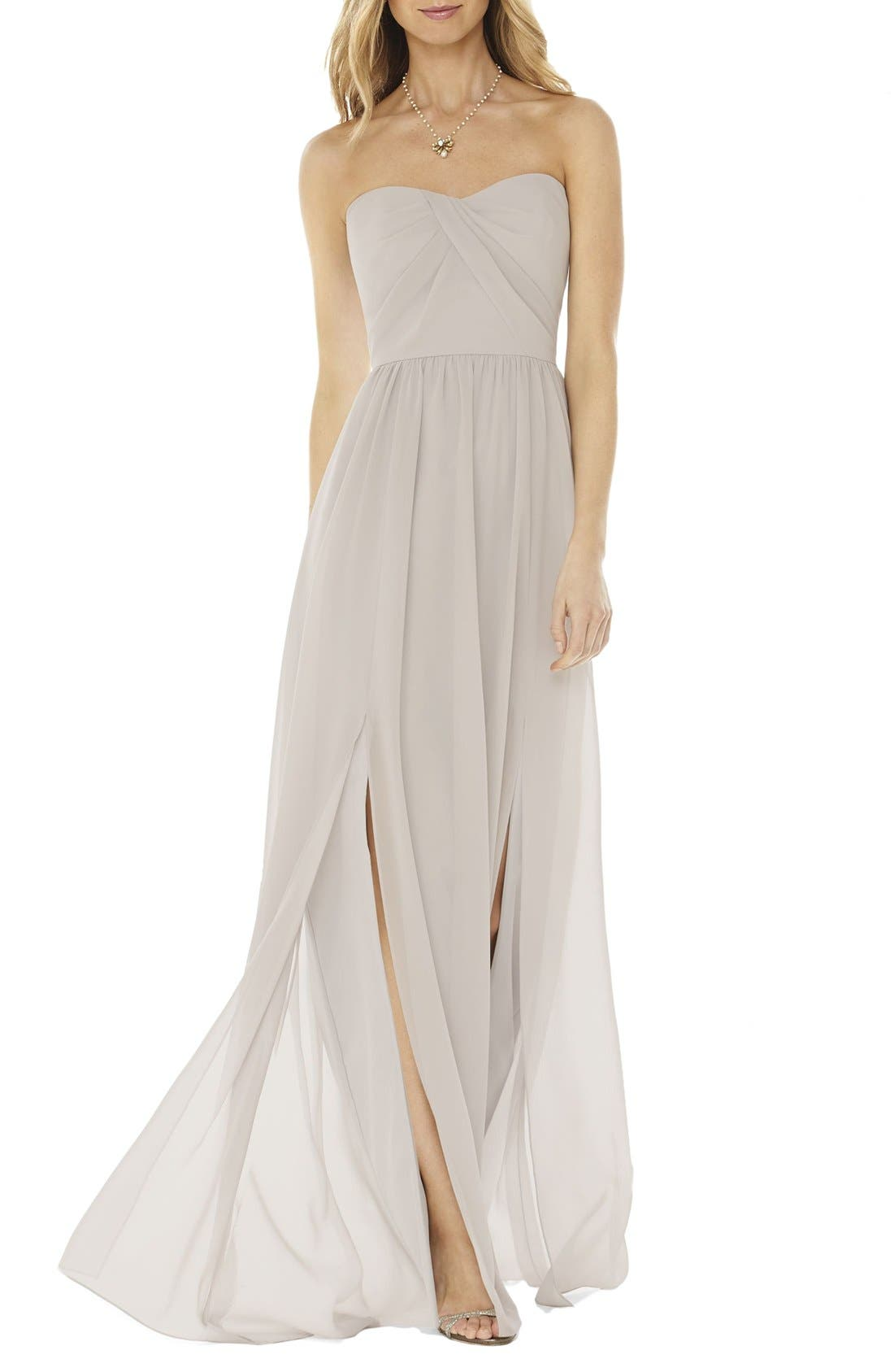 Strapless Georgette Gown,                         Main,                         color, Oyster