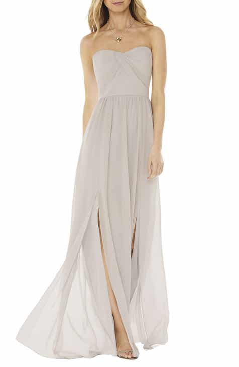 22a01007d Social Bridesmaids Strapless Georgette Gown