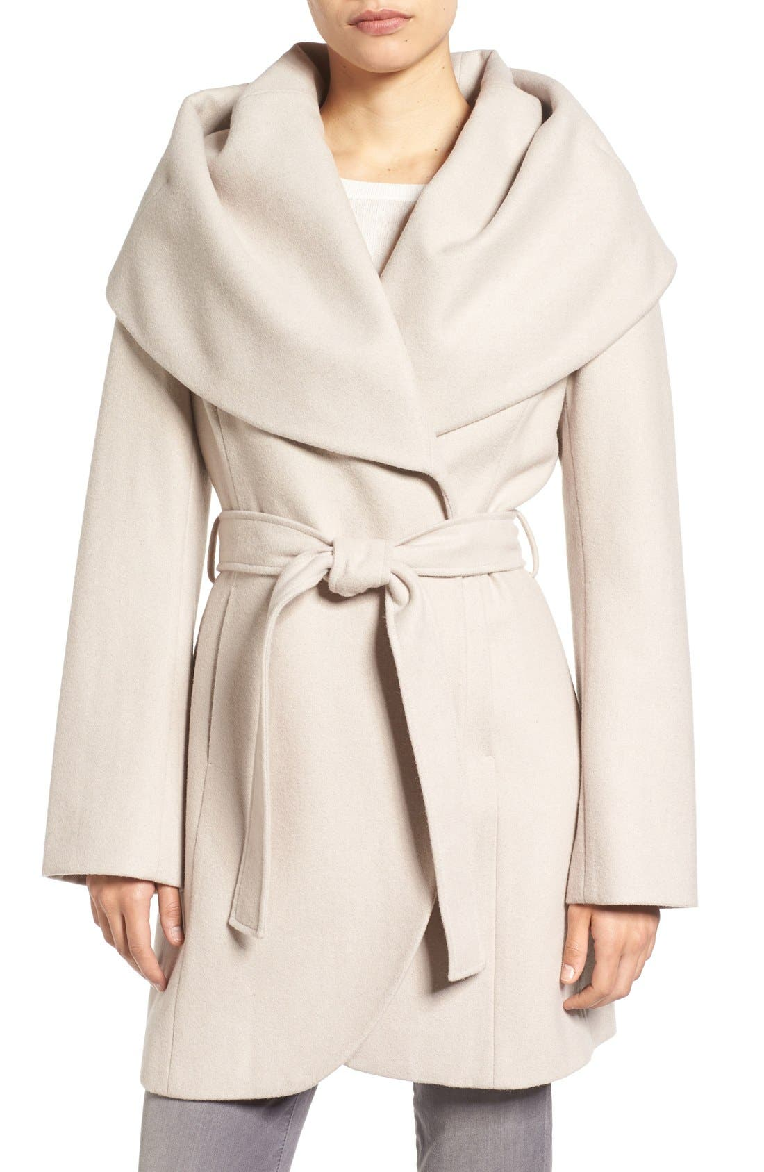 Alternate Image 1 Selected - T Tahari Wool Blend Belted Wrap Coat