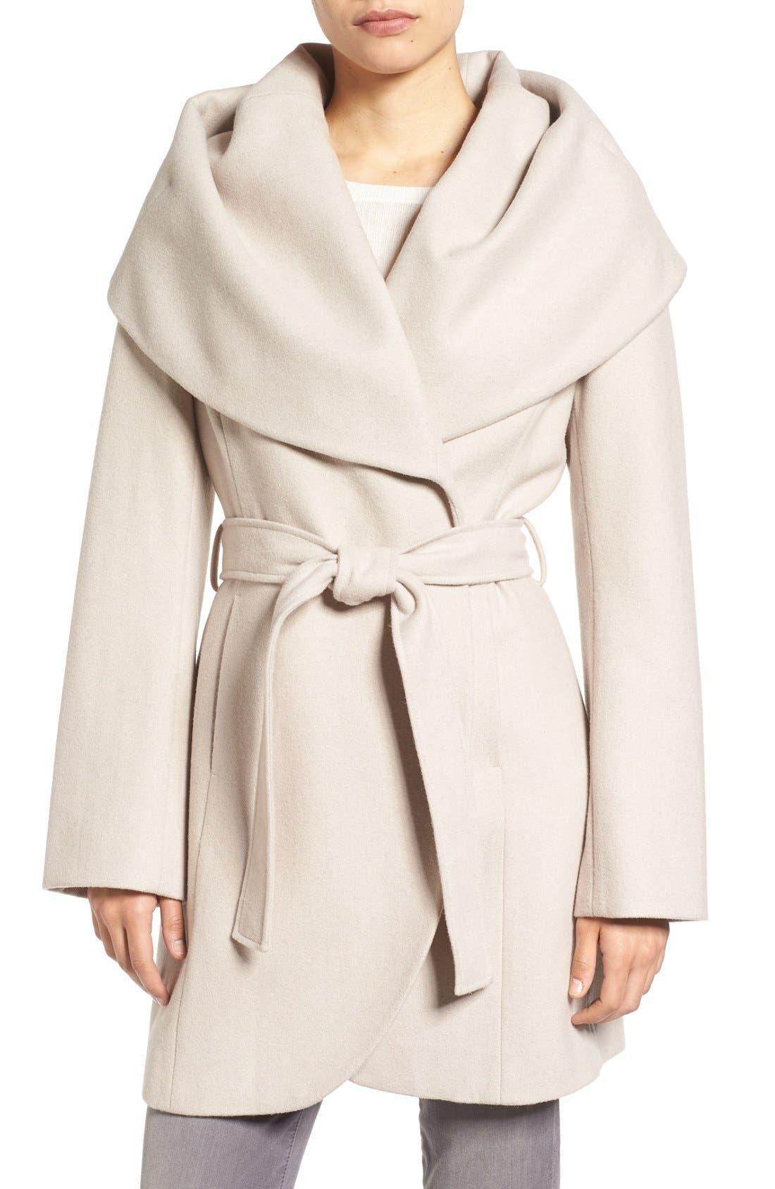 T Tahari Wool Blend Belted Wrap Coat,                         Main,                         color, Macrame