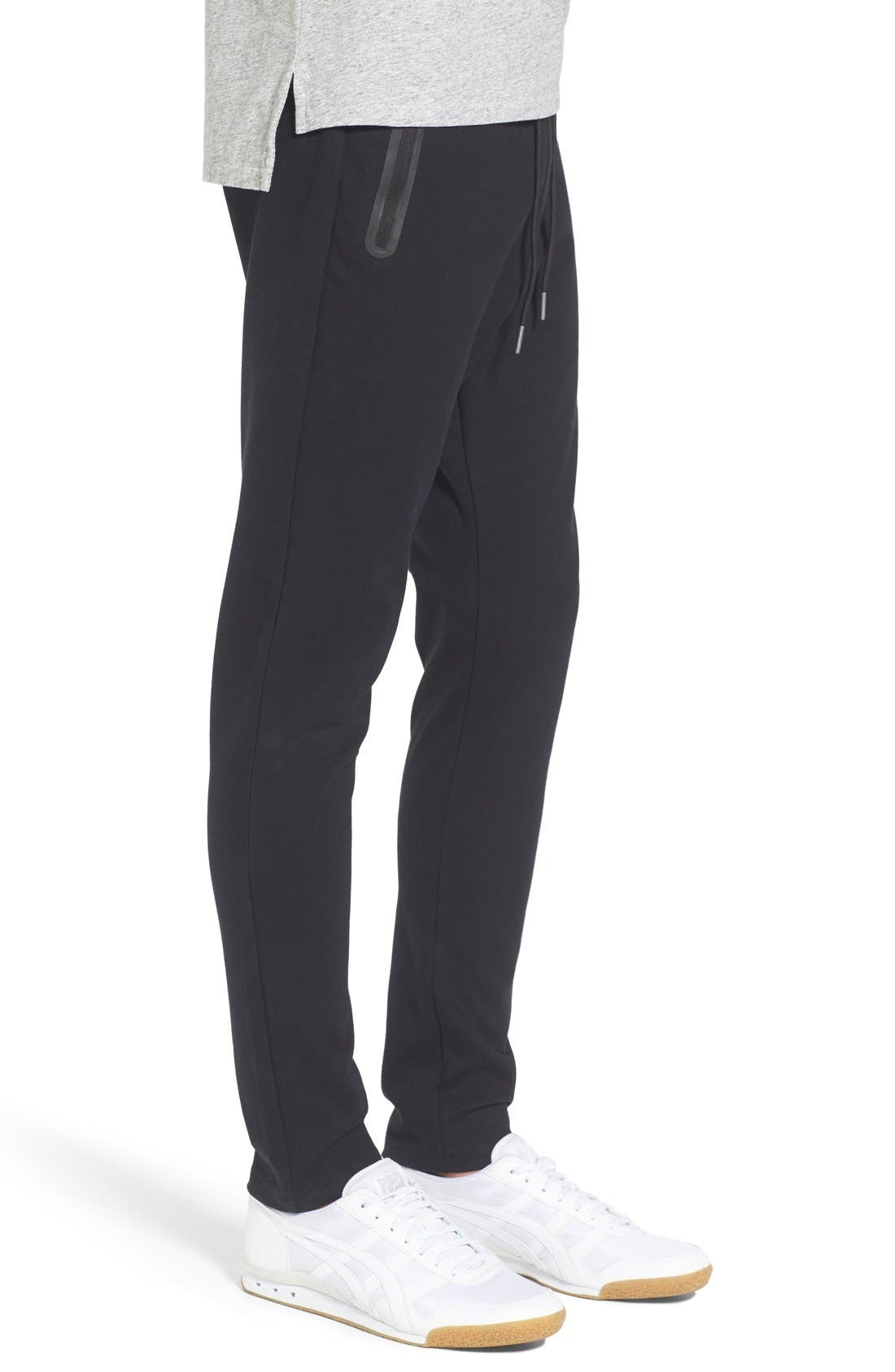 'Cling Ponte' Jogger Pants,                             Alternate thumbnail 3, color,                             Black