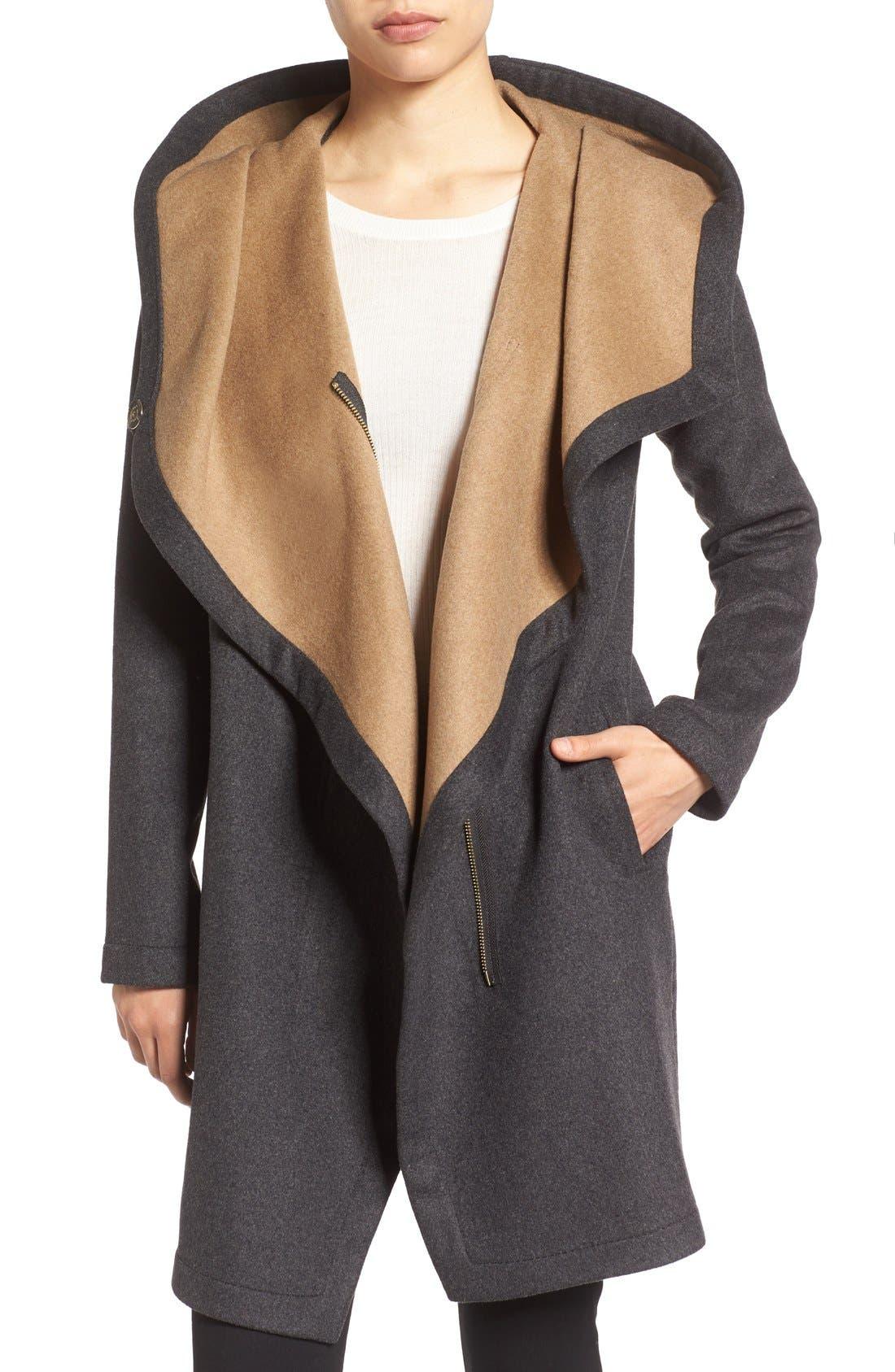 Double Face Hooded Drape Coat,                         Main,                         color, Charcoal/ Camel