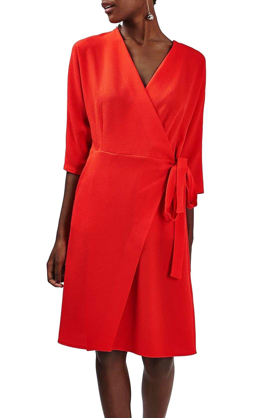 Dolman Sleeve Wrap Midi Dress,                             Main thumbnail 1, color,                             Red