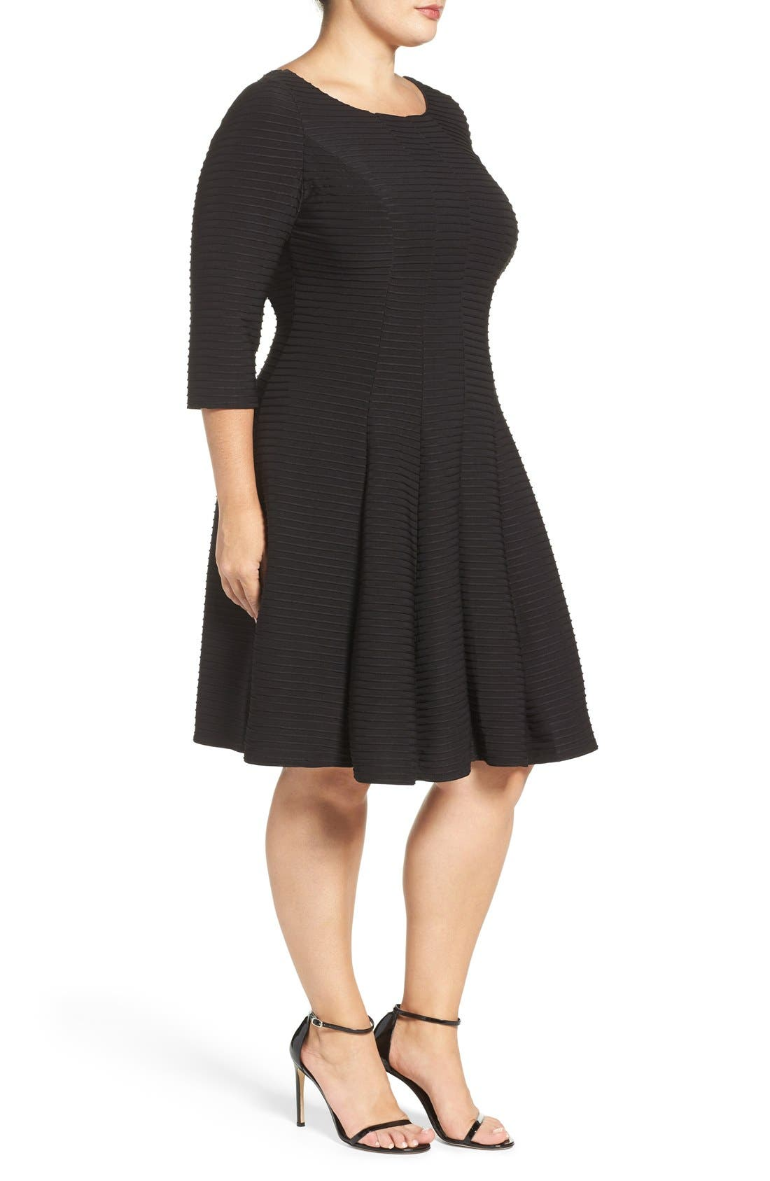 Alternate Image 3  - Gabby Skye Pintuck Knit Fit & Flare Dress (Plus Size)