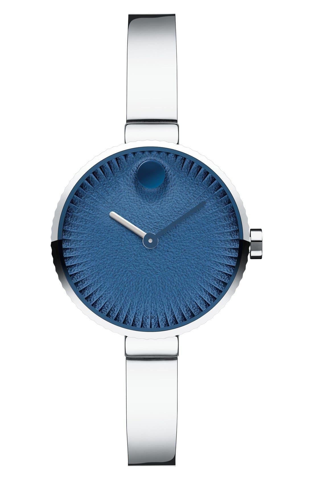 'Edge' Bracelet Watch, 28mm,                         Main,                         color, Silver/ Blue