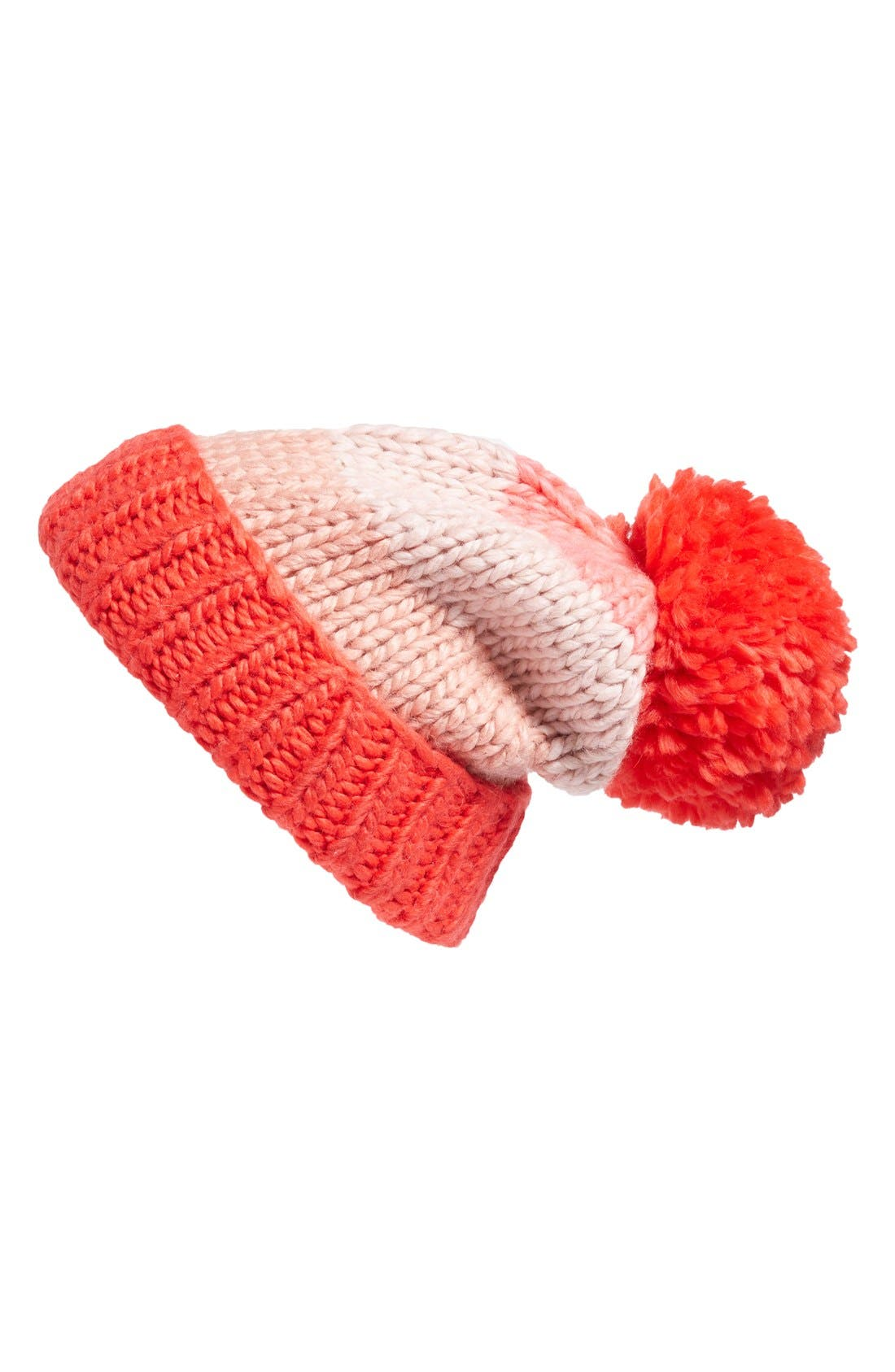 hand knit colorblock beanie,                             Main thumbnail 1, color,                             Persimmon Grove