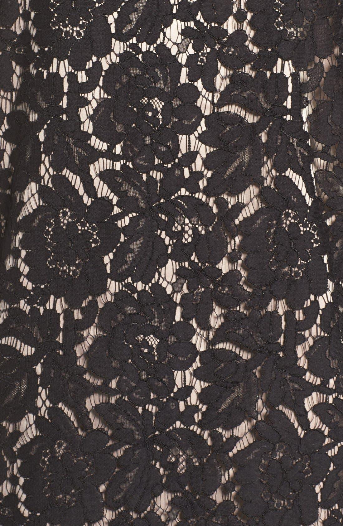 Cold Shoulder Lace Shift Dress,                             Alternate thumbnail 6, color,                             Black
