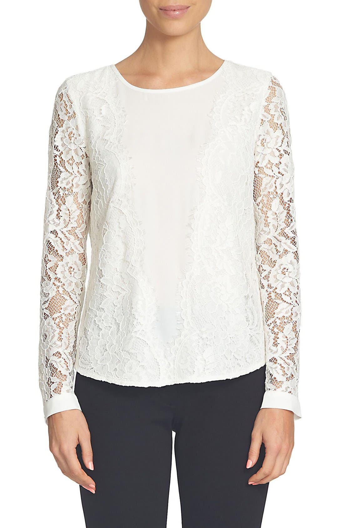 Scallop Lace & Crepe Blouse,                         Main,                         color, New Ivory