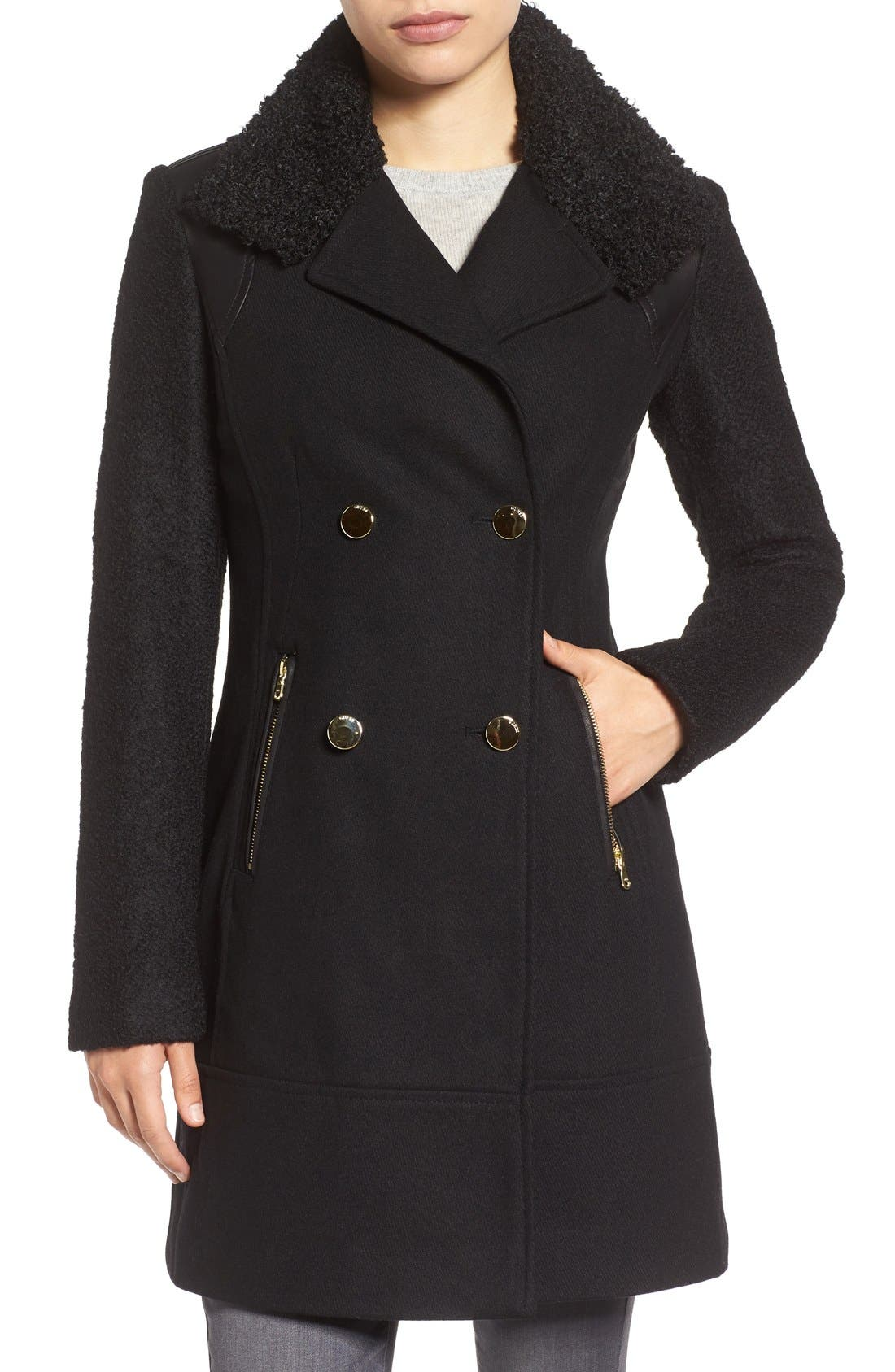Bouclé Sleeve Wool Blend Military Coat,                         Main,                         color, Black