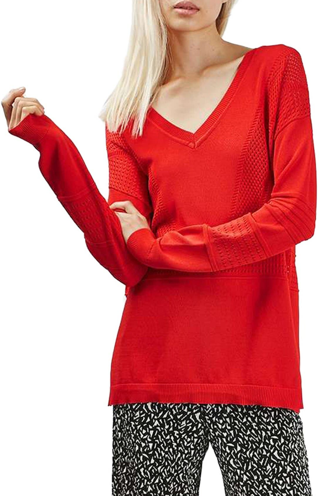 Alternate Image 1 Selected - Topshop Pointelle & Rib V-Neck Sweater