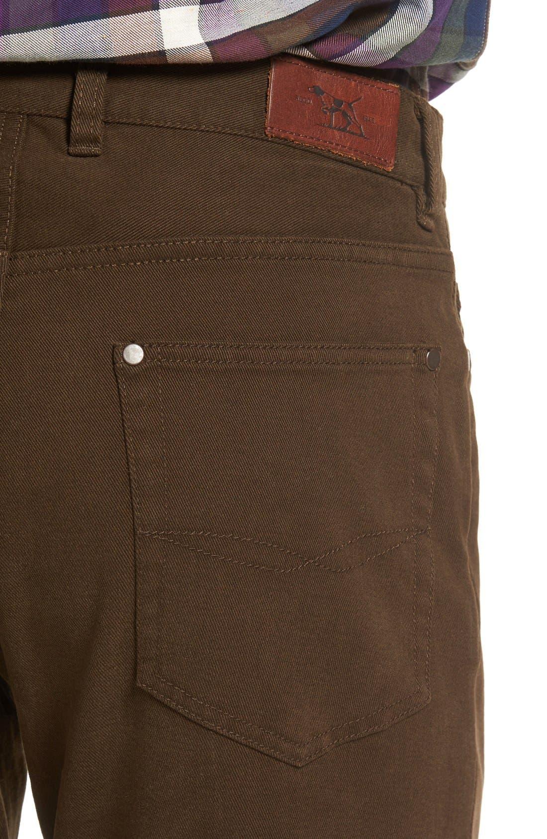 'Barters' Straight Leg Twill Pants,                             Alternate thumbnail 4, color,                             Dark Tobacco