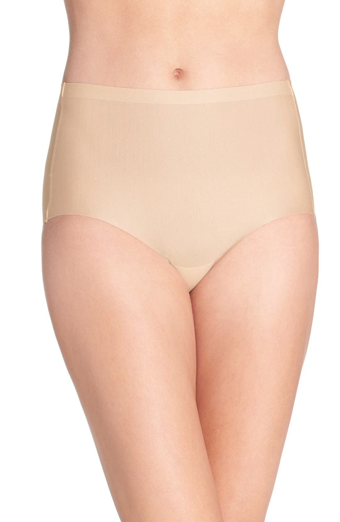 High Waist Smoothing Briefs,                             Main thumbnail 1, color,                             Sand