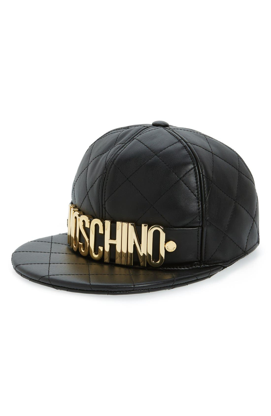 Quilted Leather Baseball Cap,                         Main,                         color, Fantasy Print Black