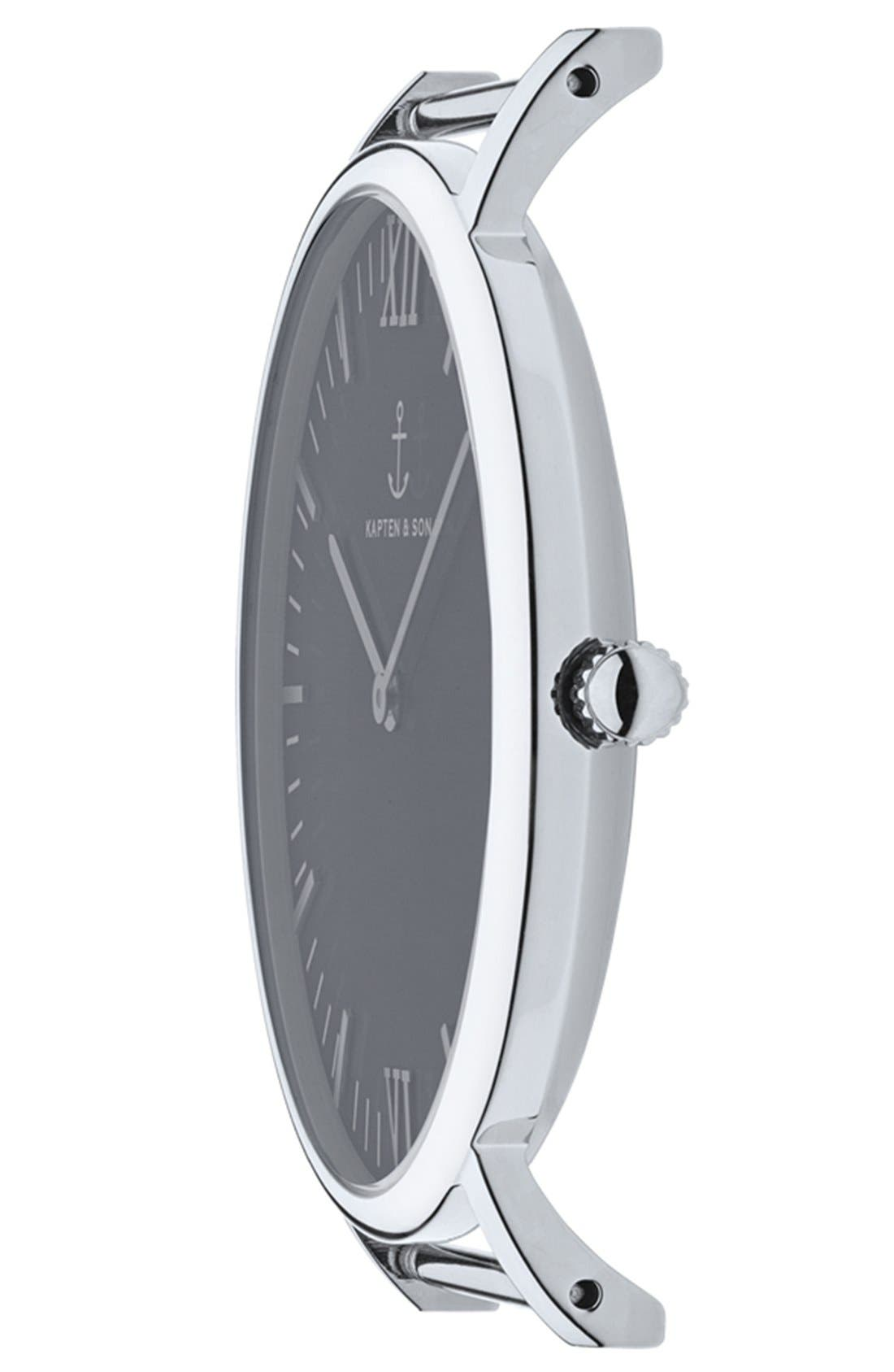 Campus Leather Strap Watch, 40mm,                             Alternate thumbnail 2, color,                             Black/ Silver