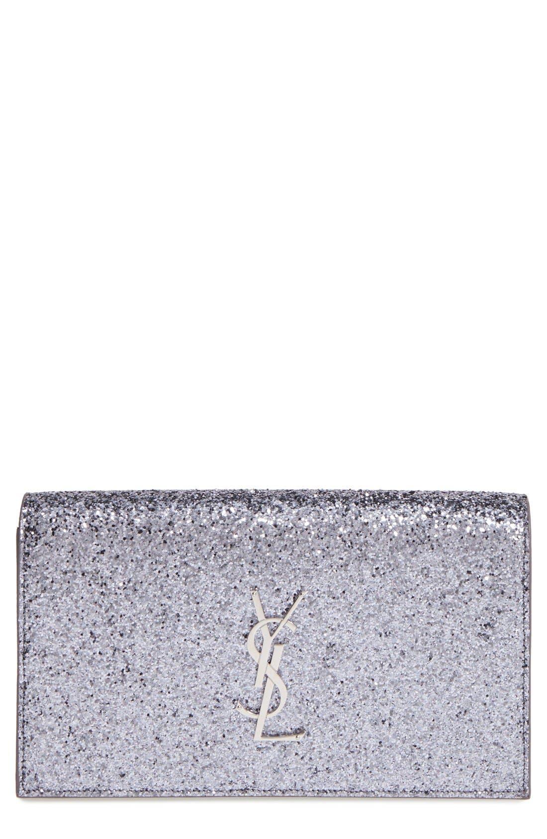 Main Image - Saint Laurent 'Monogram Kate' Glitter Clutch