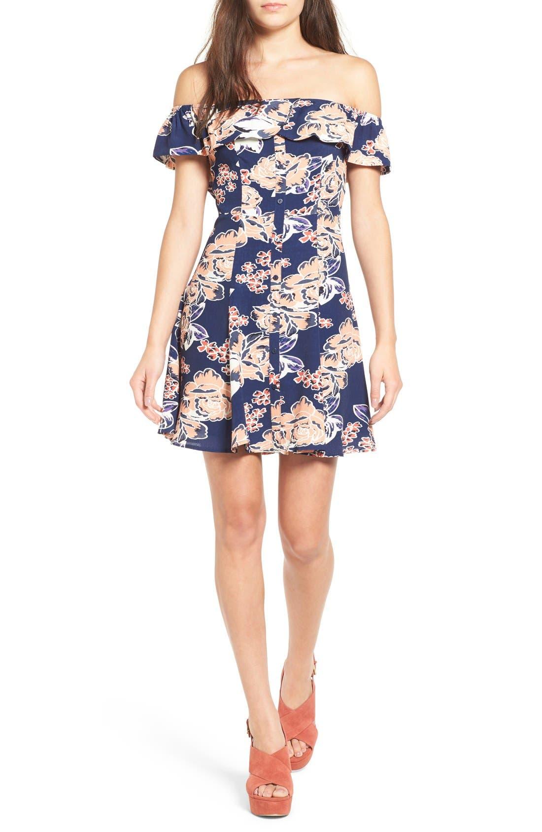 Main Image - Lovers + Friends 'Vineyard' Floral Print Off the Shoulder Minidress