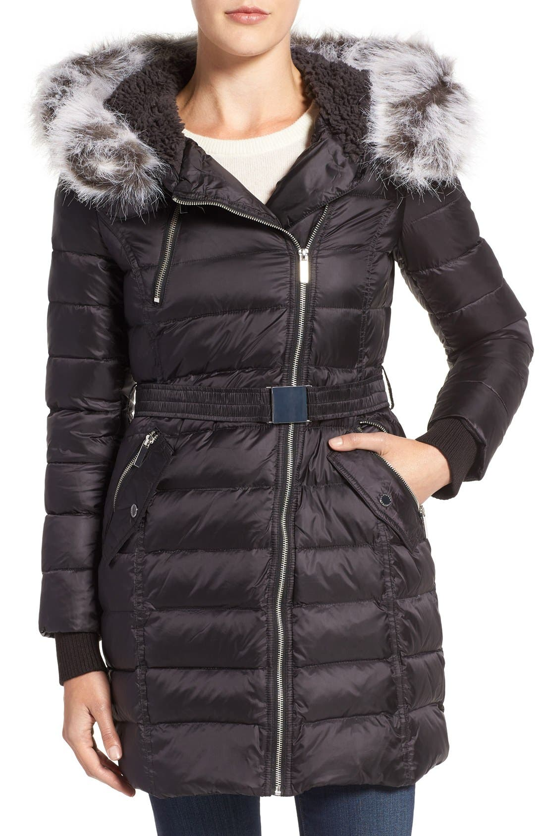 Quilted Coat with Faux Fur Trim Hood,                         Main,                         color, Black