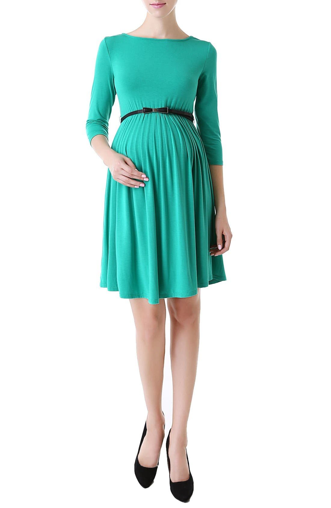'Shannon' Maternity Dress,                             Alternate thumbnail 4, color,                             Emerald