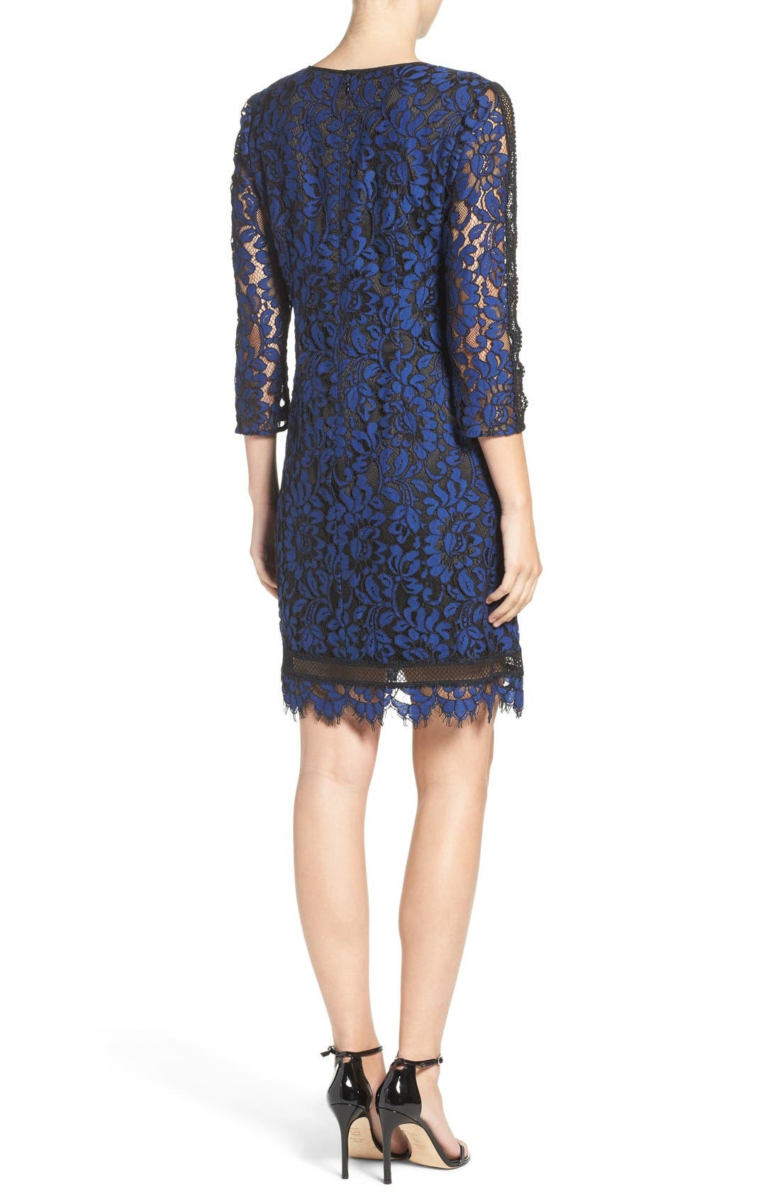 Alternate Image 2  - Eliza J Inset Lace Sheath Dress (Regular & Petite)
