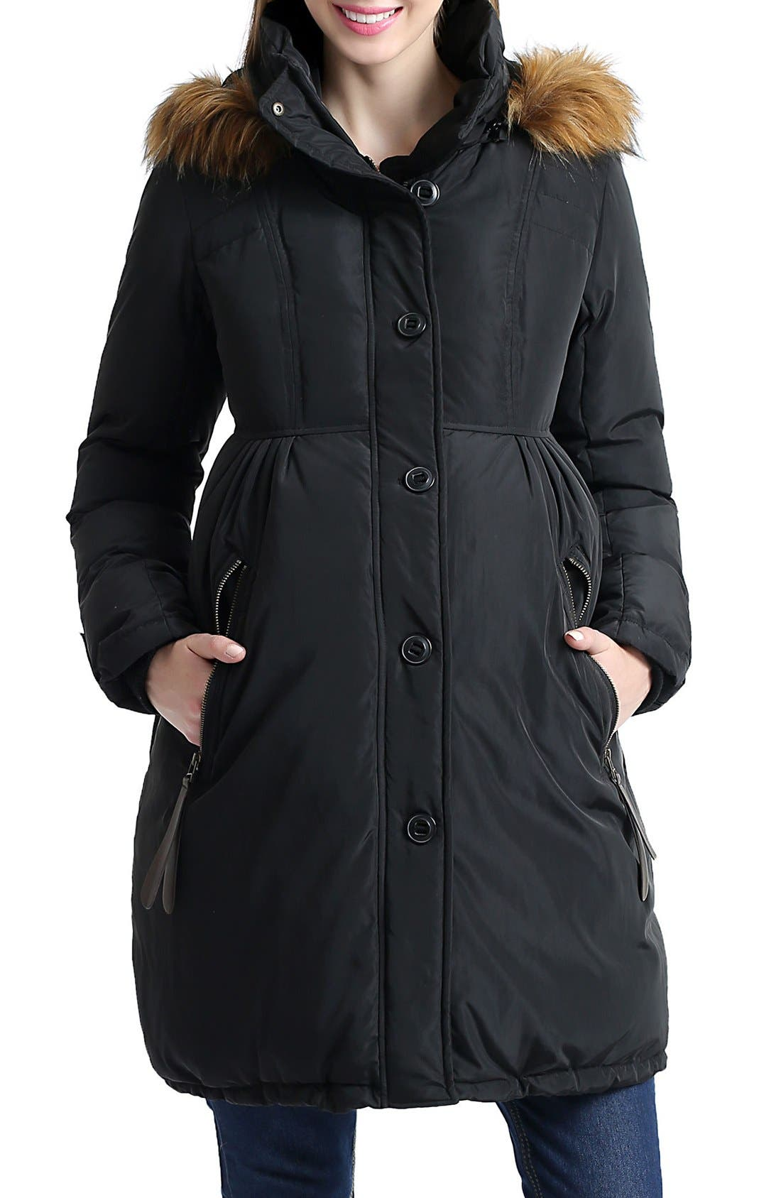Lizzy Water Resistant Down Maternity Parka,                             Alternate thumbnail 3, color,                             Black