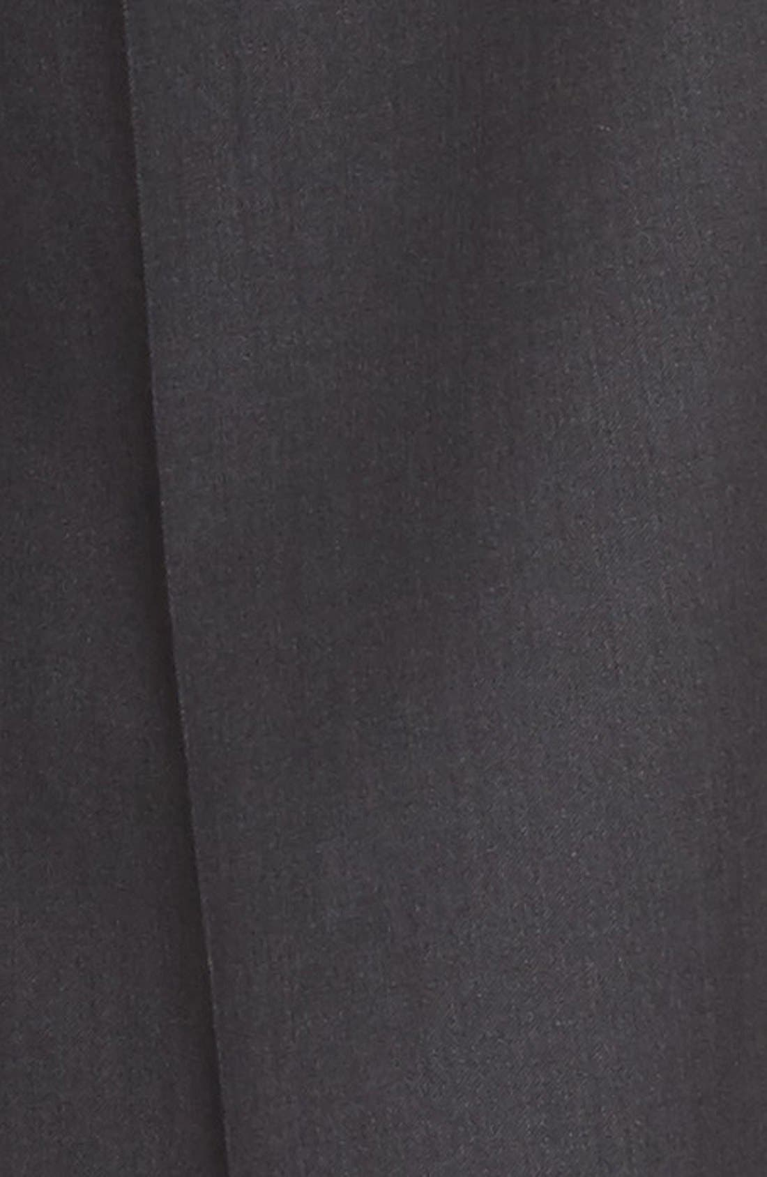 Flat Front Solid Wool Trousers,                             Alternate thumbnail 2, color,                             Charcoal