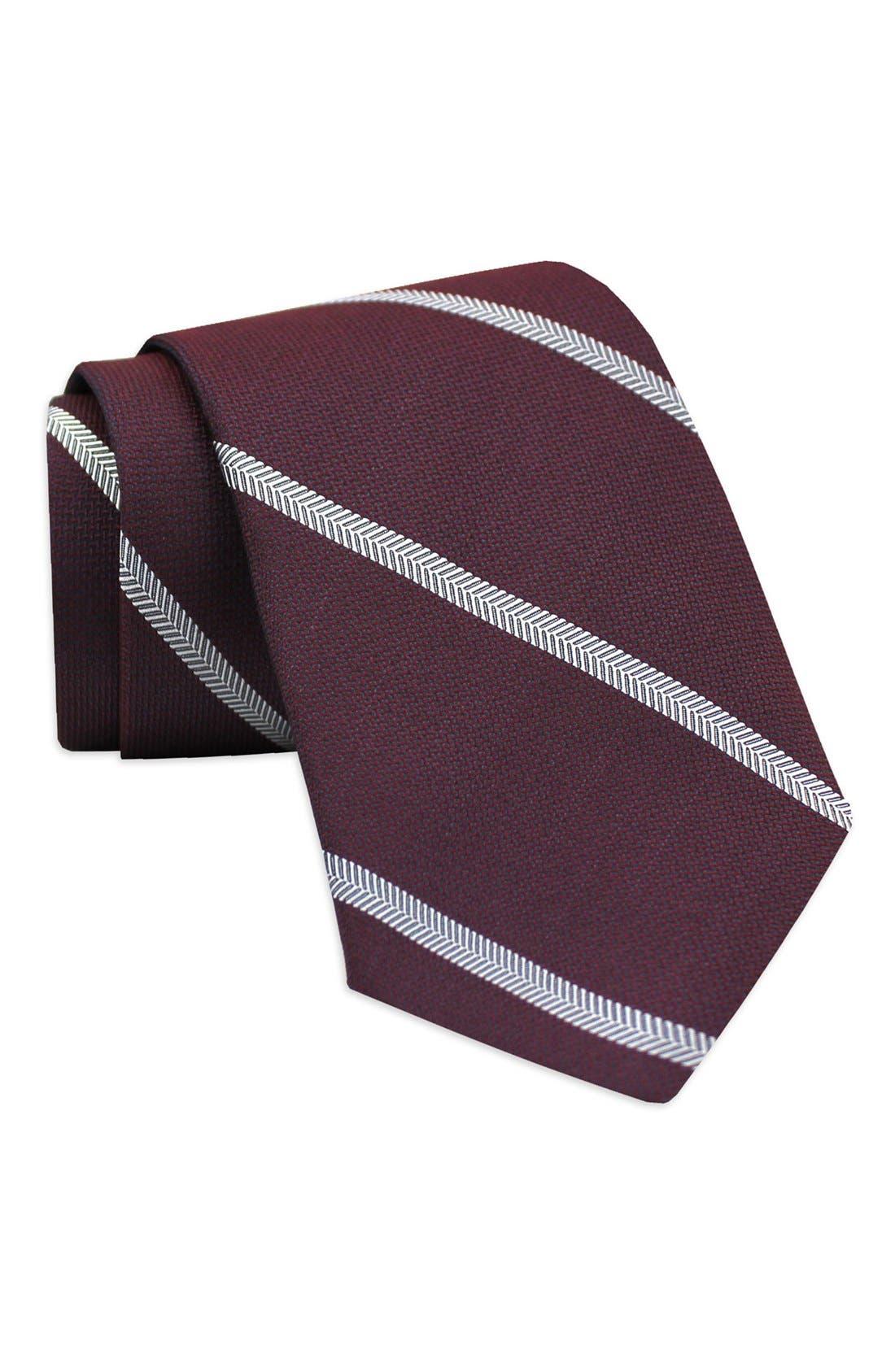 Stripe Woven Silk Tie,                         Main,                         color, Burgundy