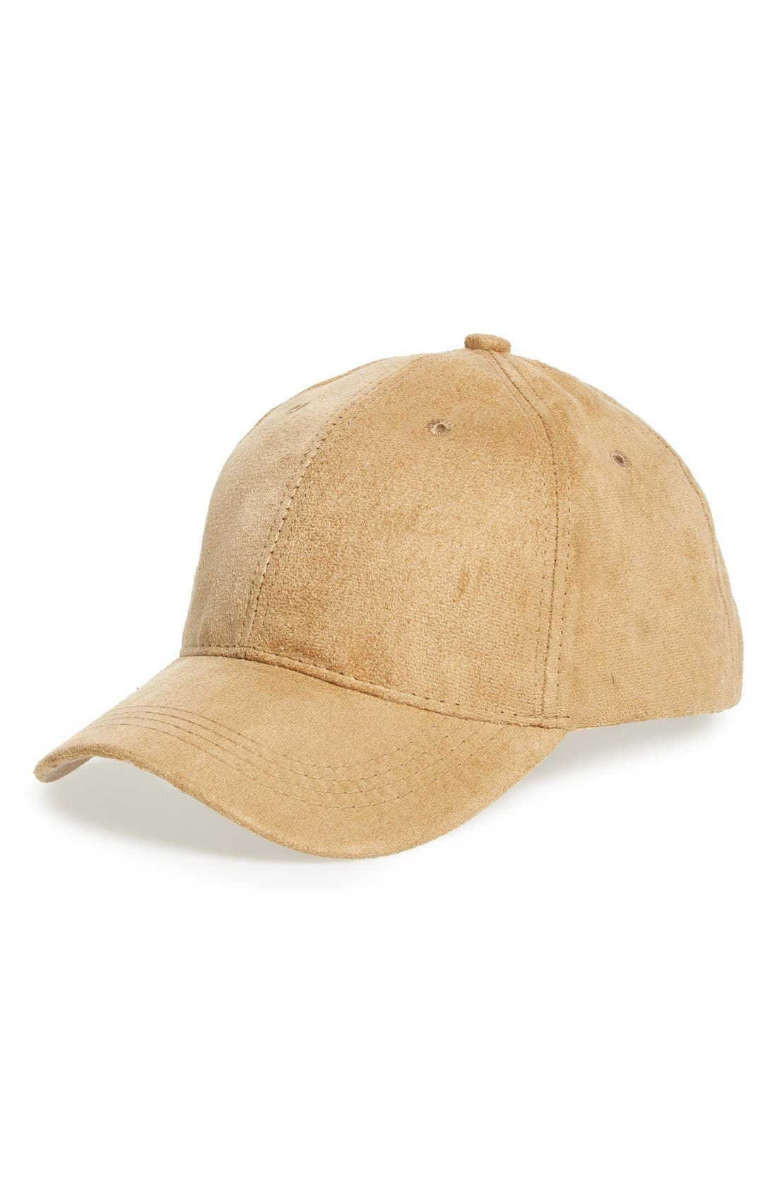 Faux Suede Ball Cap,                             Main thumbnail 1, color,                             Tan