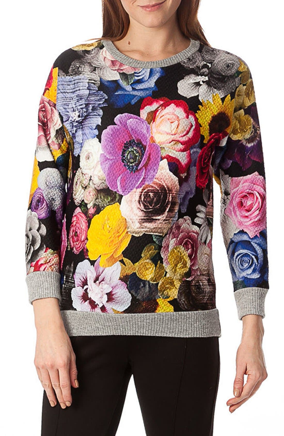 'Ocean' Floral Print Quilted Maternity Sweatshirt,                             Alternate thumbnail 4, color,                             Collage Of Flowers