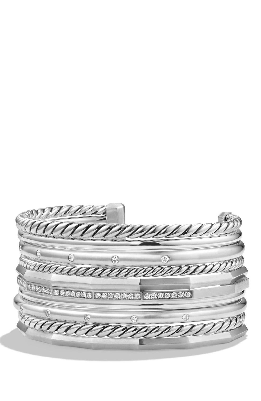 David Yurman 'Stax' Wide Cuff Bracelet with Diamonds