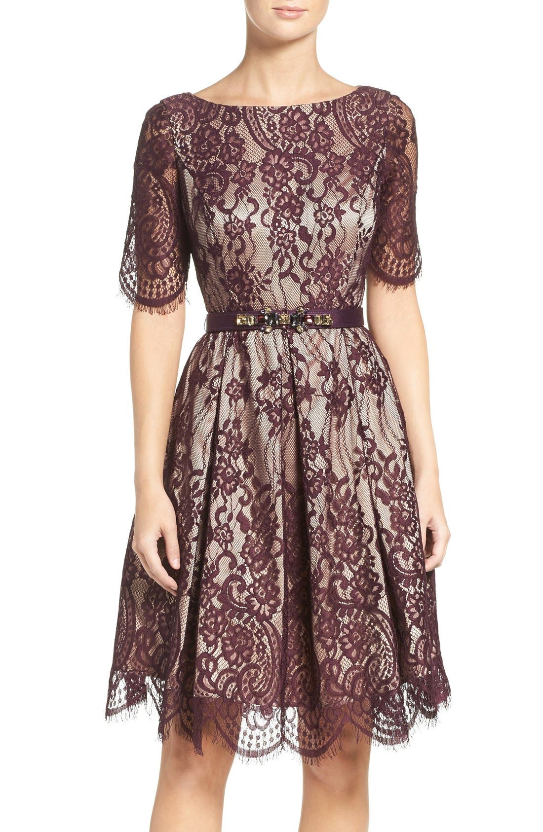 Alternate Image 1 Selected - Eliza J Lace Fit & Flare Dress